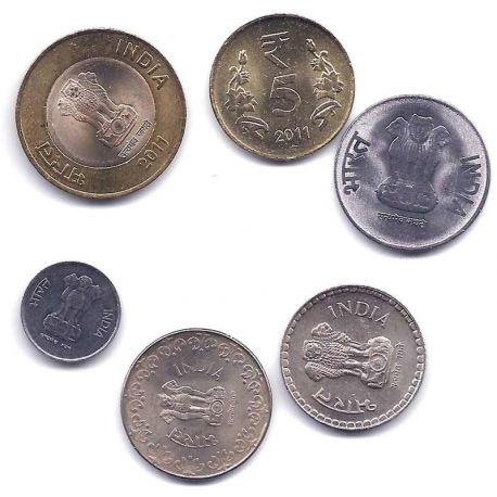 Inde - Série de 6 pièces différentes