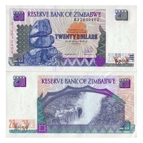 Billet de banque Zimbabwe Pk N° 7 - 20 Dollars