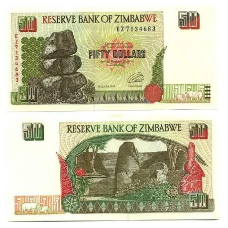 Billet de collection Zimbabwe Pk N° 8 - 50 Dollars