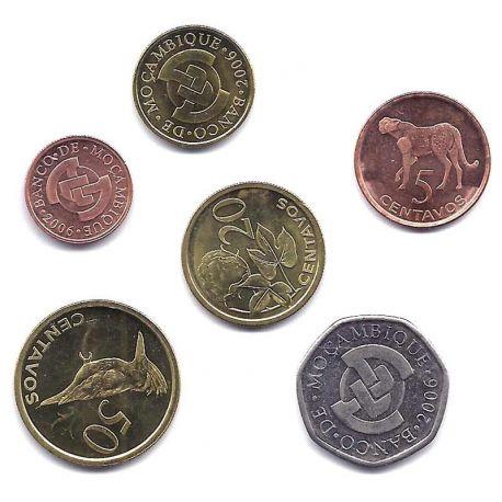Mozambique - Série de 6 pièces différentes
