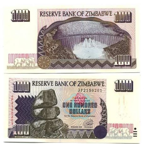 Billets de banque Zimbabwe Pk N° 9 - 100 Dollars