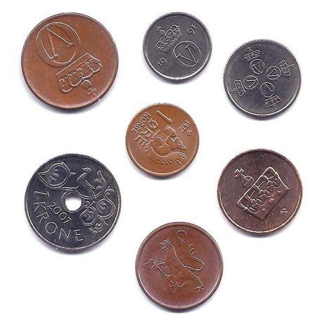 Norvege - Série de 7 pièces différentes