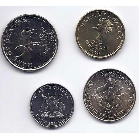 Ouganda - Série de 4 pièces différentes
