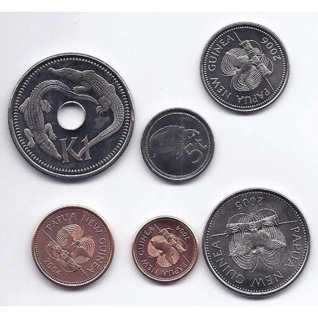 Papouasie - Série de 6 pièces différentes
