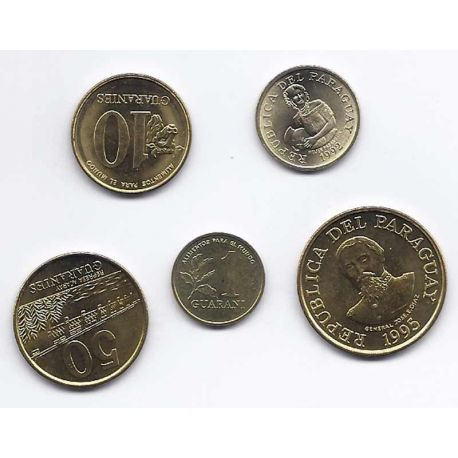 Paraguay - Série de 5 pièces différentes