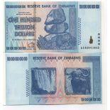 Billets banque Zimbabwe Pk N° 91 - 100TRILLION Dollars