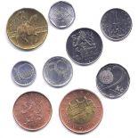 Ceco repubblica - serie di 9 monete diverse