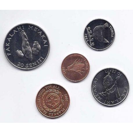 Tonga - Série de 5 pièces différentes