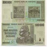 Colección Billetes Zimbabue Pick número 76 - 500000 Dollar