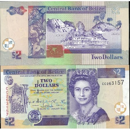 Belize - Pk N° 60 - Billet de 2 Dollars