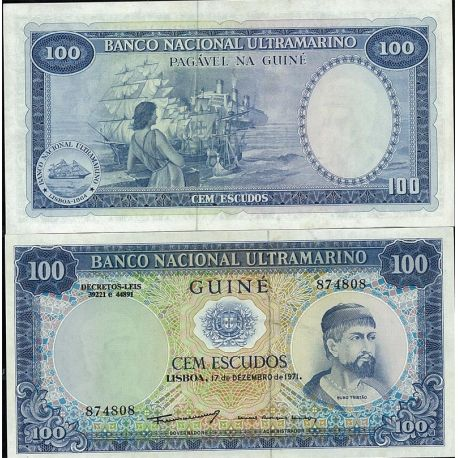 Guinee Portugaise - Pk N° 45 - Billet de 100 Escudos