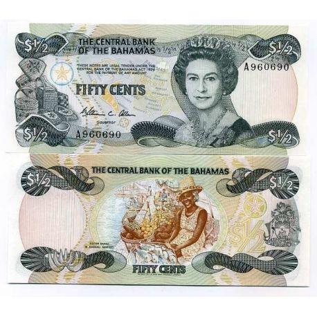 Billets de collection Billets banque Bahamas Pk N° 42 - 50 Cents Billets des Bahamas 26,00 €