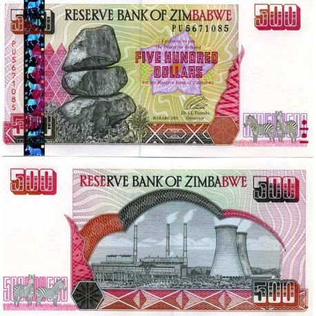 Billet de collection ZIMBABWE Pk N° 11 - 500 Dollars
