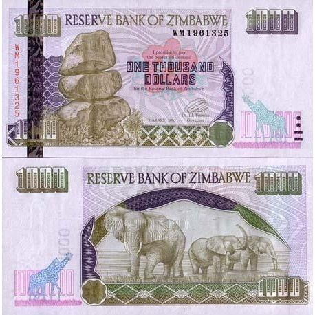 Billets de banque ZIMBABWE Pk N° 12 - 1000 Dollars