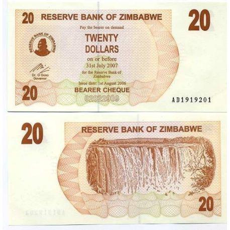 Zimbabwe - Pk N° 40 - Billet de 20 Dollars