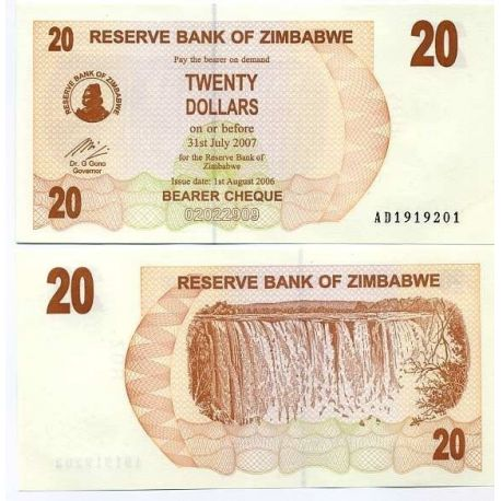 Billets collection Zimbabwe Pk N° 40 - 20 Dollars