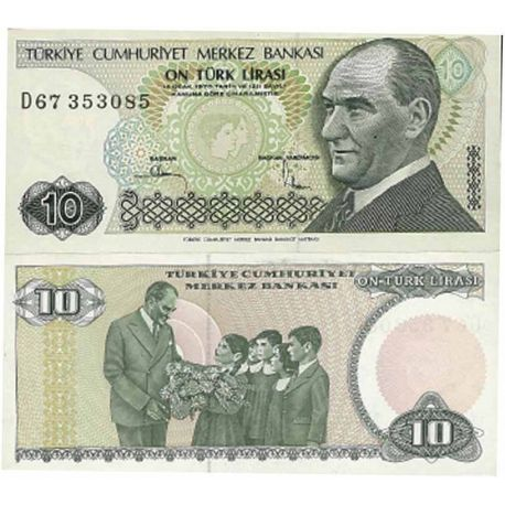 Billets de collection Billets de collection Turquie Pk N° 193 - 10 Lira Billets de Turquie 2,50 €