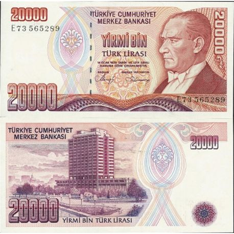 Billets de collection Billets de collection Turquie Pk N° 201 - 20 000 Lira Billets de Turquie 6,00 €