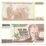 Billets de collection Turquie Pk N° 206 - 100 000 Lira