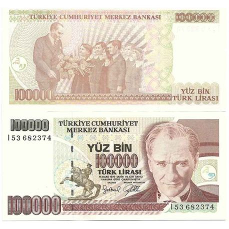 Billets de collection Billets de collection Turquie Pk N° 206 - 100 000 Lira Billets de Turquie 3,00 €