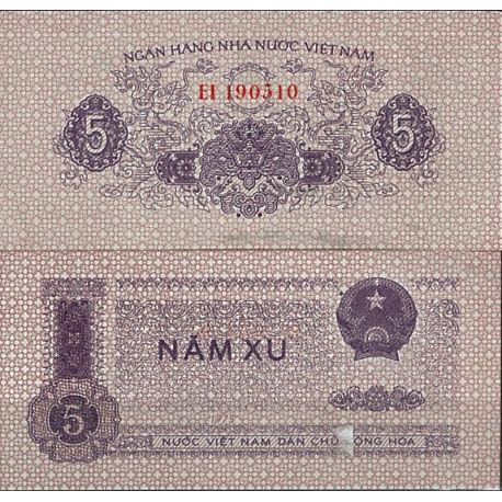 Billets de collection Vietnam Nord Pk N° 76 - 5 Dong