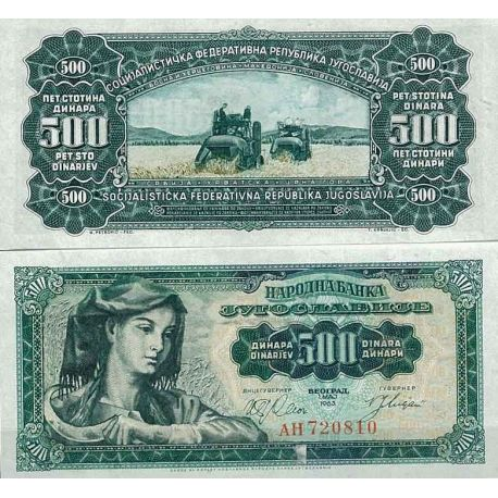 Billets de collection Yougoslavie Pk N° 74 - 500 Dinara