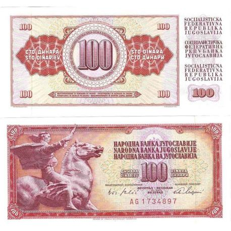 Billets de collection Billets de collection Yougoslavie Pk N° 80B - 100 Dinara Billets de Yougoslavie 1,00 €