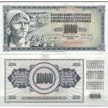 Billets de collection Yougoslavie Pk N° 86 - 1000 Dinara
