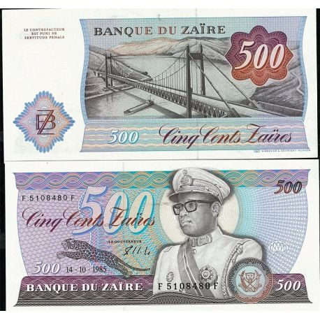 Billets de collection Billets de collection Zaire Pk N° 30B - 500 Zaires Billets du Zaire 10,00 €