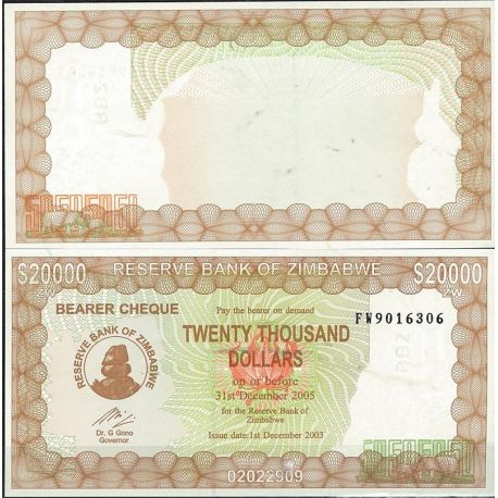 Billets de collection Zimbabwe Pk N° 23 - 20 000 Dollars bearer
