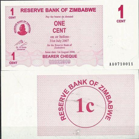Zimbabwe - Pk N° 33 - Billet de 1 Cent bearer