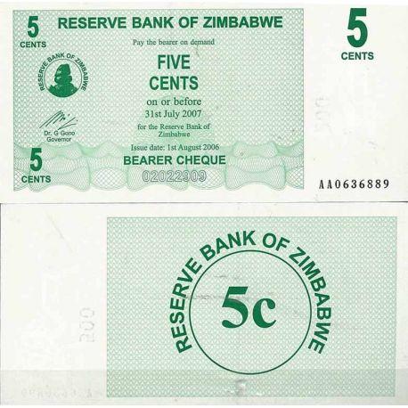 Zimbabwe - Pk N° 34 - Billet de 5 Cents bearer