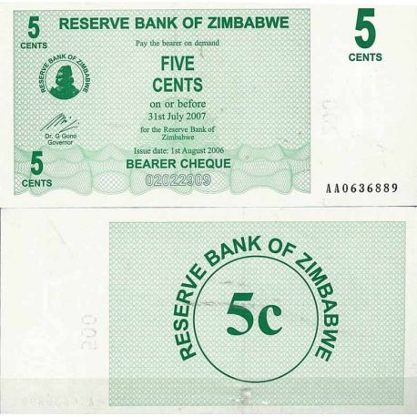 Billets de collection Zimbabwe Pk N° 34 - 5 Cents bearer