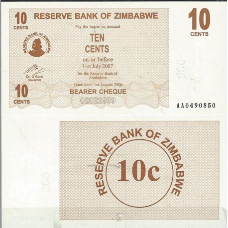 Billets de collection Zimbabwe Pk N° 35 - 10 Cents bearer