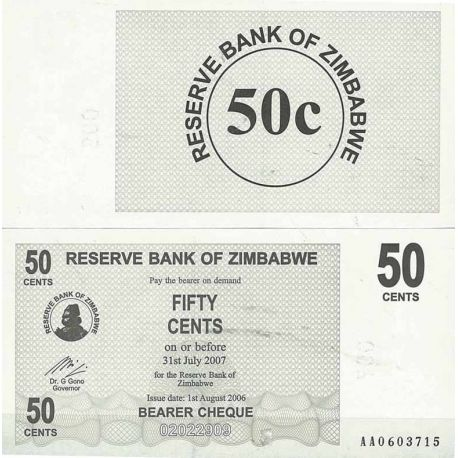 Billets de collection Zimbabwe Pk N° 36 - 50 Cents bearer