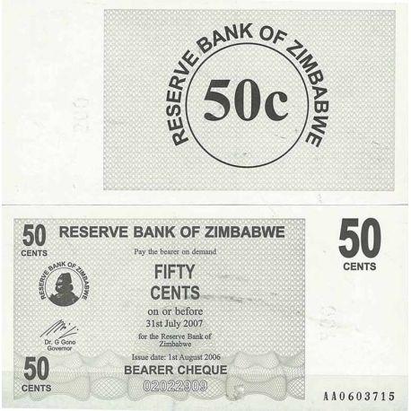 Zimbabwe - Pk N° 36 - Billet de 50 Cents bearer