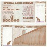 Colección de billetes Zimbabue Pick número 63 - 50000000000 Dollar