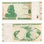 Billets de collection Zimbabwe Pk N° 93 - 5 Dollars