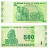Billets de collection Zimbabwe Pk N° 98 - 500 Dollars