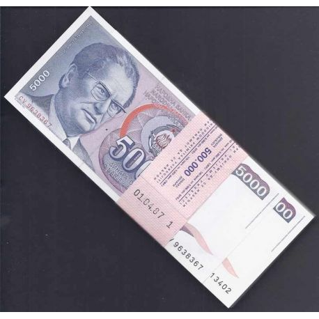 Billets de collection Billet de collection Yougoslavie Pk N° 93 en liasse de 100 ex. - 5000 Dinara Billets de Yougoslavie 385...