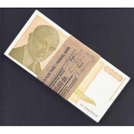 Yougoslavie - Pk N° 143 en liasse de 99 ex. - Billet de banque de 500000 Dinara