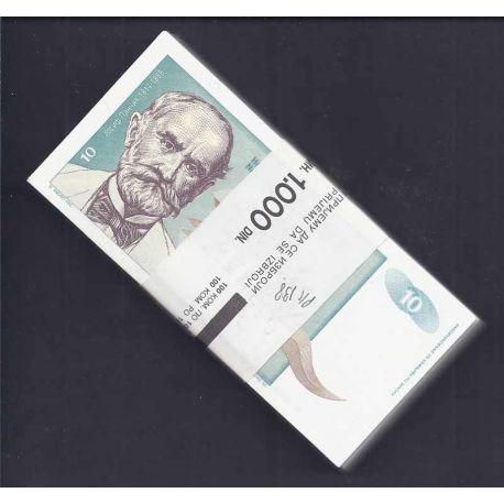 Yougoslavie - Pk N° 138 en liasse de 100 ex. - Billet de banque de 10 Dinara