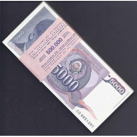 Yougoslavie - Pk N° 93 en liasse de 100 ex. - Billet de banque de 5000 Dinara