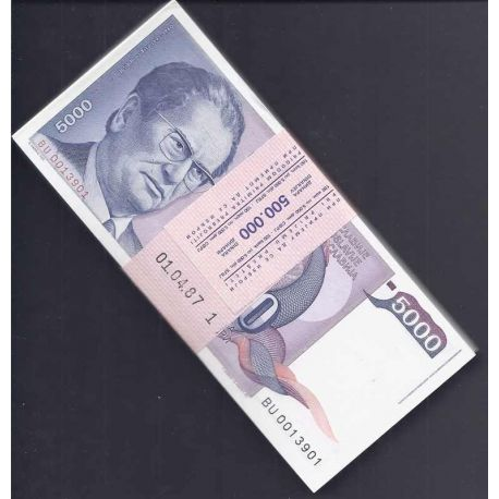 Billets de collection Yougoslavie - Pk N° 93 en liasse de 100 ex. - Billet de banque de 5000 Dinara Billets de Yougoslavie 35...