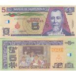 Colección de billetes Guatemala Pick número 116 - 5 Quetzal 2008