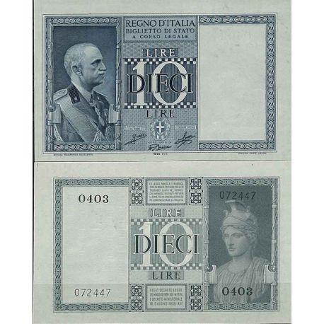 Italie - Pk N° 25C - Billet de banque de 10 Lire