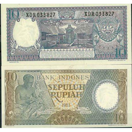 Indonesie - Pk N° 89 - Billet de banque de 10 Rupiah