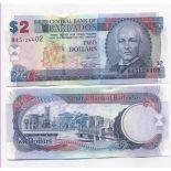 Colección de billetes Barbados Pick número 66 - 2 Dollar 2007