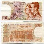 Sammlung von Banknoten Belgien Pick Nummer 139 - 50 FRANC 1966