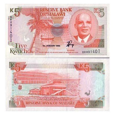 Malawi - Pk N° 24b - Billet de banque de 5 Kwacha
